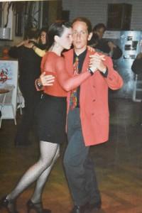 Sonja Armisen und ich im Hansapalast vom Feierwerk in München, Anfang der 1990er Jahre, wo ich mit Mariejo Reyes über sieben Jahre zweimal monatlich zu einer Milonga mit Live-Musik lud.