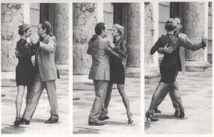 """Mariejo und Ralf auf einem Bild-Bogen aus Ralf Sartoris Tango-Lehr- und Unterrichtsbuch """"Tango, Tanz der Herzen..."""""""