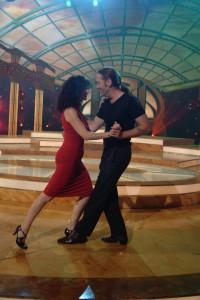 Ralf Sartori mit Bühnen-Partnerin beim Show-Tango in den Bavaria Filmstudios bei München