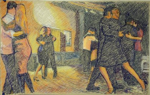 Tango im Kino: Eine Zeichnung des Inninger Künstlers Harald Trepte, der als Tangotänzer gerne unsere Kino-Milongas besucht