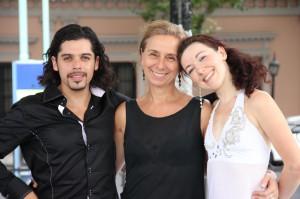 Filmemacherin Hanne Weyh mit Rodrigo Fonti aus Patagonien und Mila Vigdorova aus Moskau